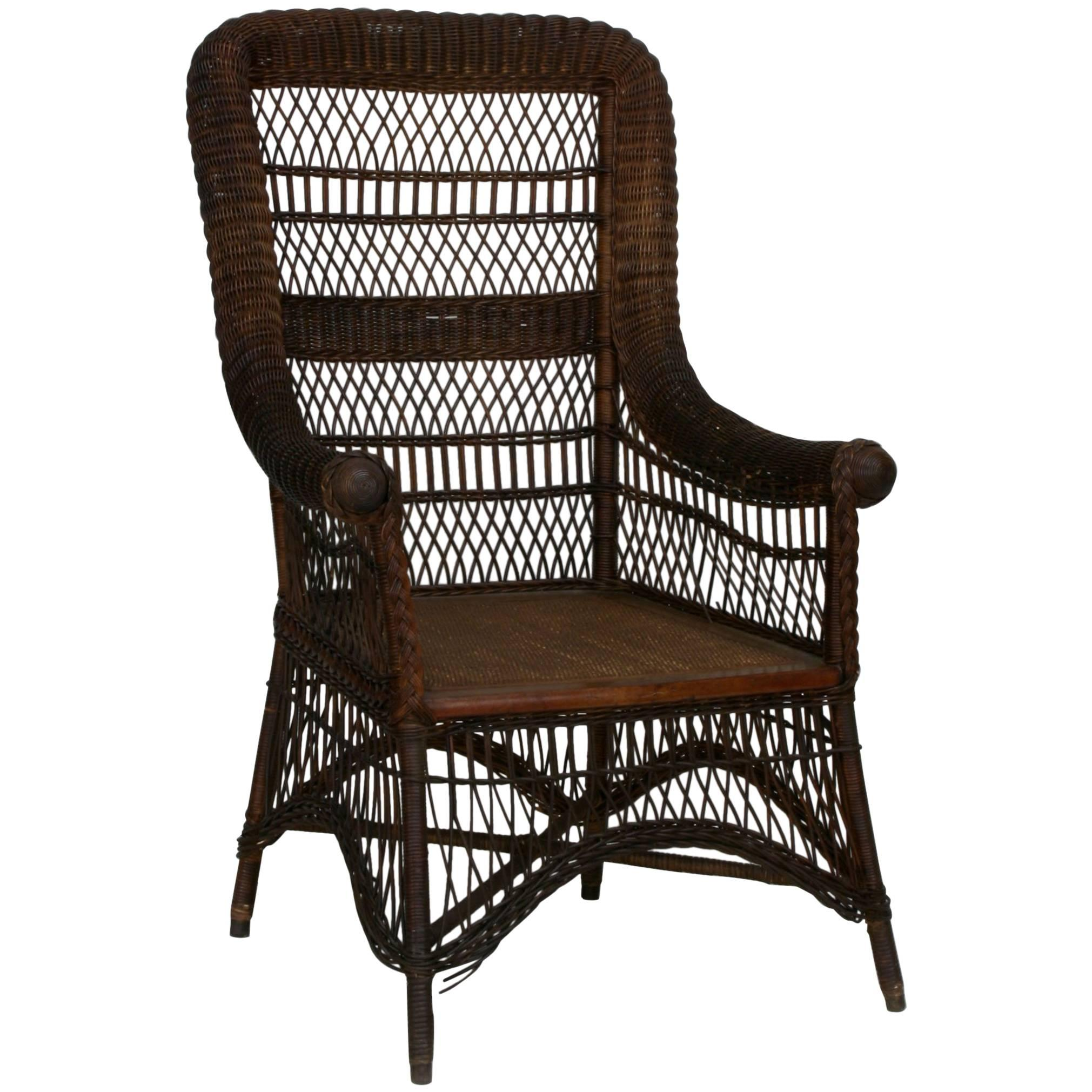American Victorian/Mission Dark Stained Wicker Armchair