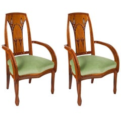 Pair of French Art Nouveau Beach Wood Armchairs by Louis Majorelle