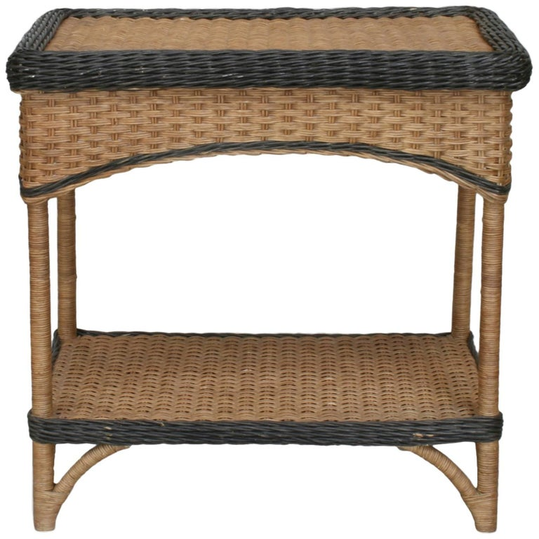 French, 1940s Natural Wicker Rectangular End Table