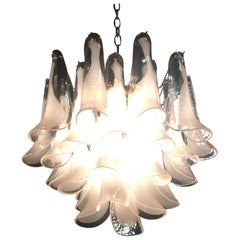 Four-Tier Murano Mazzega Glass Tulip 30 Petal Shoehorn Chandelier Brass Vintage