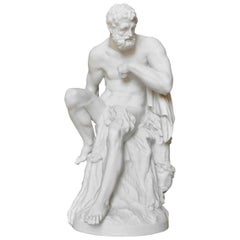 Large 19th Century Berlin Bisque or Parian Porcelain Figure of Hercules