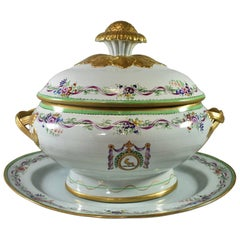 Italian Lowestoft Reproduction Soup Tureen with Underplate by Mottahedeh