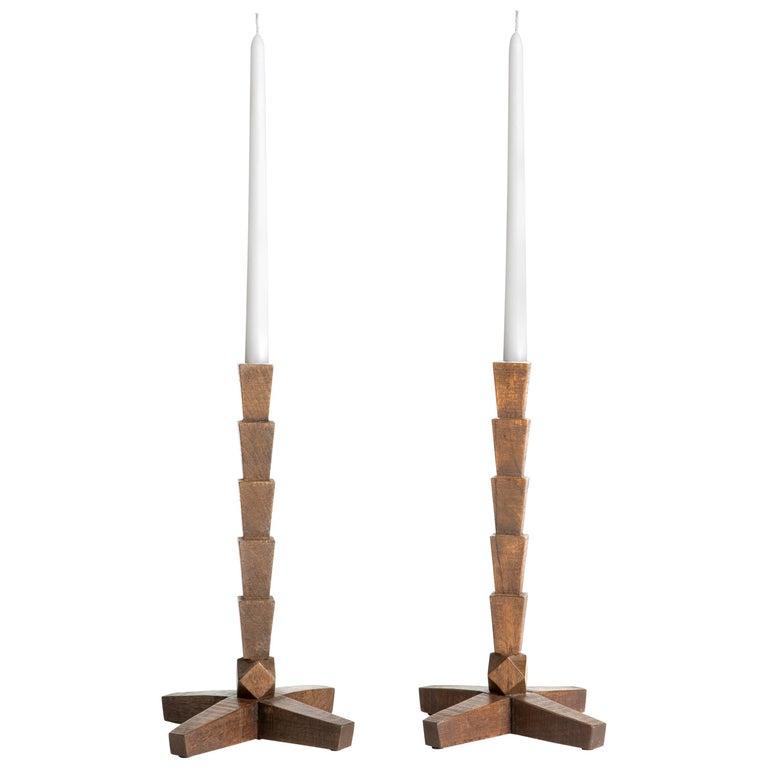 Pair of Dark Stained White Oak Candlesticks, ERIK GUSTAFSON