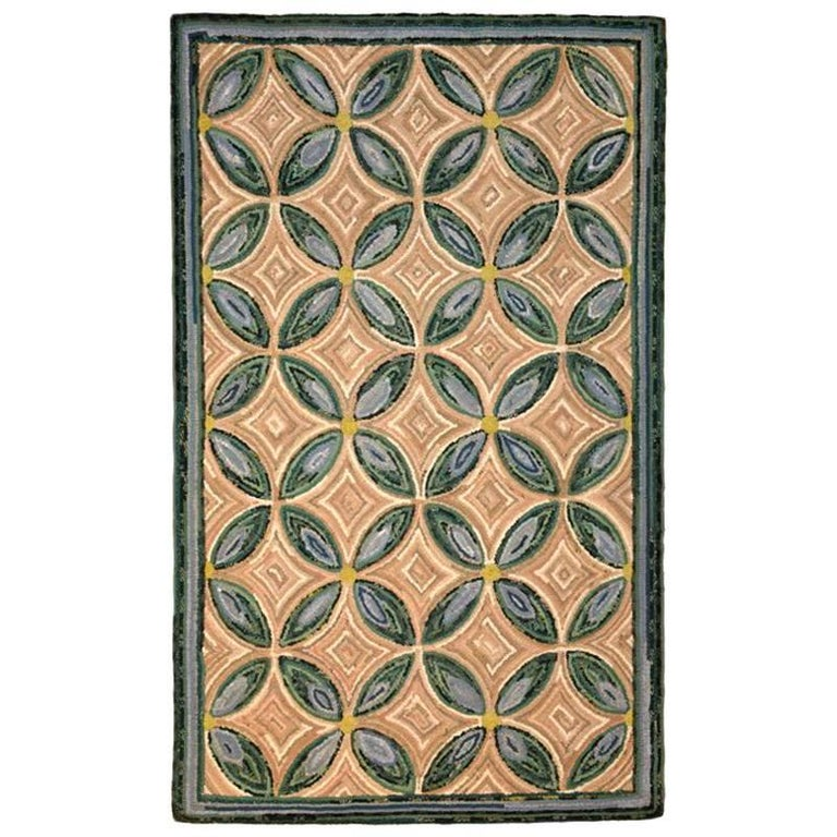 Modern Geometric Hooked Rug by Stephen T. Anderson