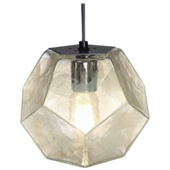 Modern Handmade Glass Lighting - Hedron Series Pendant in Silver Leaf
