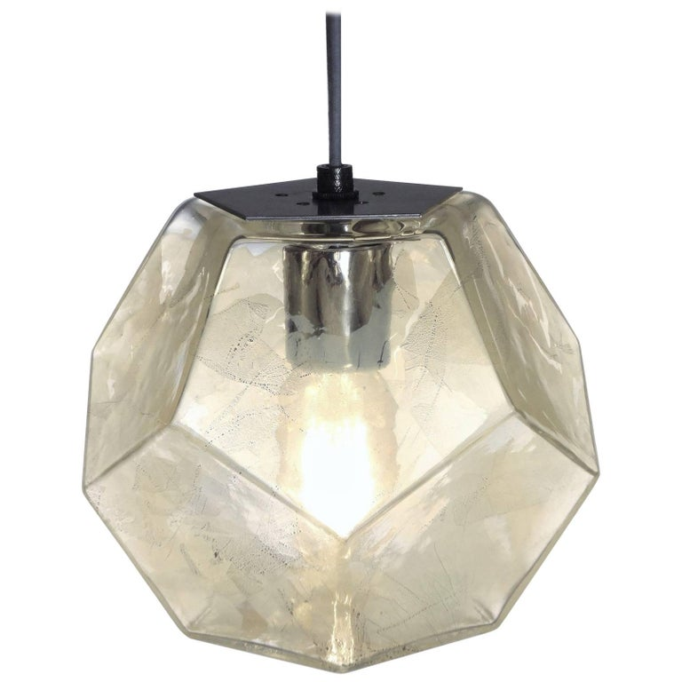 Modern Handmade Glass Lighting - Hedron Series Pendant in Silver Leaf For Sale