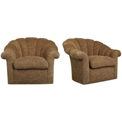 Art Deco Style Leopard Print Swivel Club Chairs with Channel Tufting, Pair