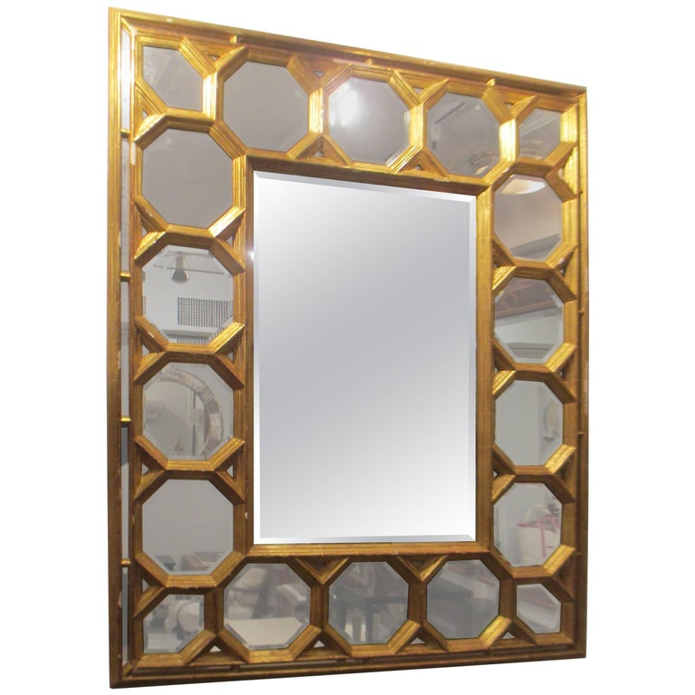 Hand-Carved Giltwood Mirror With Octagonal Design Along Border