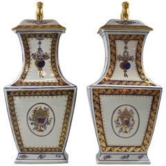 Tall Golden Foo Dog Covered Vases/Urns by Mottahedeh Reproduction Lowestoft Pair