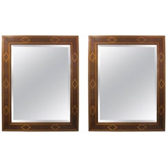 Pair of Parquetry Inlaid Beveled Mirrors in the Biedermeier Manner