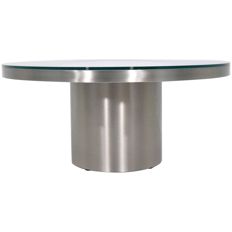 Stainelss Steel Pedestal Base Coffee Table For Sale