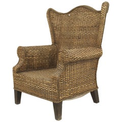 American Wicker 20th Century Overscale Natural Rattan Wing Chair