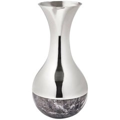 Dual Vase Carnico Marble and Silver, in Stock