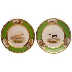 Pair of Antique English Porcelain Sporting Plates