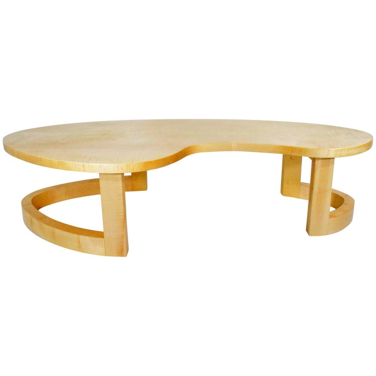 Signed Kidney Coffee Table In Maple For Sale At 1stdibs