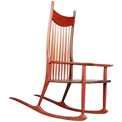 Sam Maloof Style American Craftsman Rocking Chair with Brass Accents