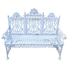 Antique Signed Cast Iron Victorian Bench