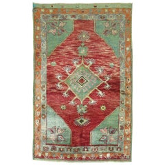 Vintage Turkish Oushak Red Green Rug
