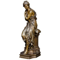 19th Century French Bronze of Woman as an Antique Godess after Etienne Dumaige