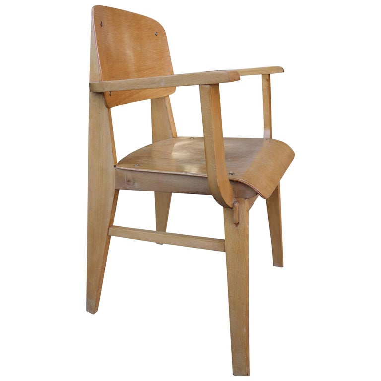 Mid-Century Jean Prouvè All Wood Standard Armchair
