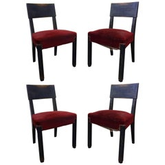Set of Four Blackened Oak Chairs by Charles Dudouyt