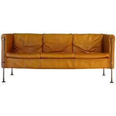 Vintage Tan Leather Italian Felix Sofa by Burkhard Vogtherr, 1985, Arflex, Italy