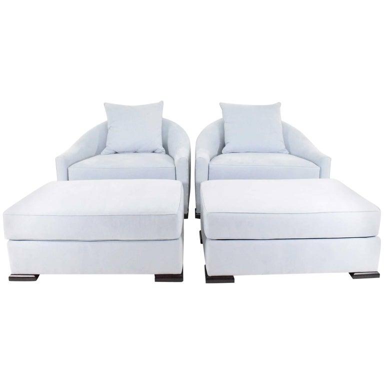 Mattaliano Dupre Lafon lounge chairs with ottomans, new