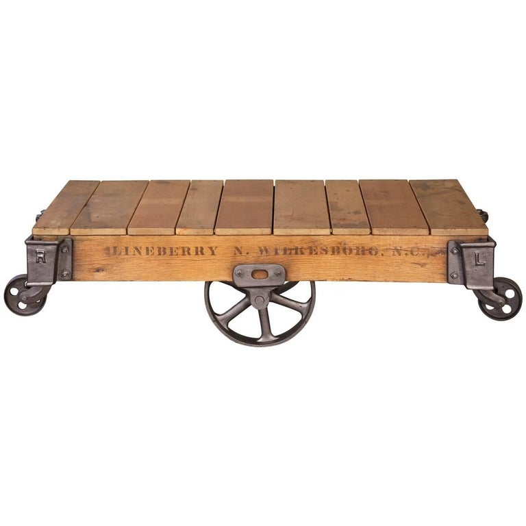 Vintage Rolling Cart Coffee Table Industrial Rustic Wood and Cast Iron Factory