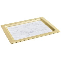 Dual Tray Carrara Marble and Gold - In Stock