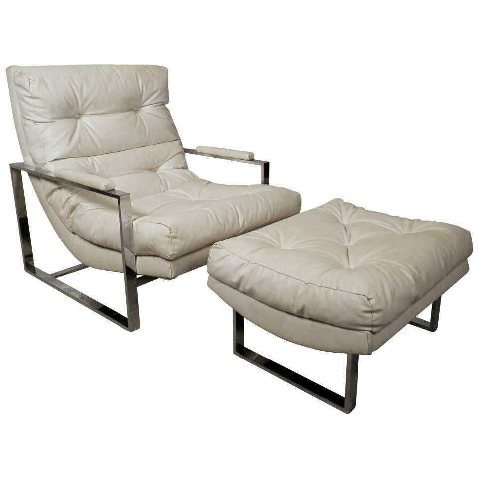Milo Baughman Style Tufted Lounge Chair with Ottoman