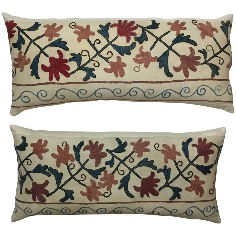 Pair of Suzani Pillows For Sale
