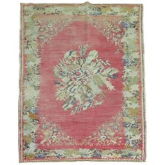 Pink Turkish Ghiordes Rug
