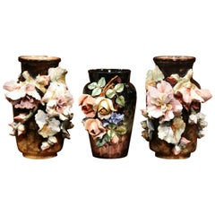 Set of 19th Century Hand-Painted Barbotine Vases with Flowers from Montigny