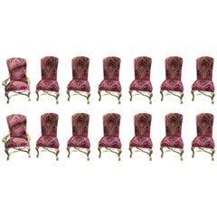 Set of 14 French Louis XIV Style Carved Giltwood and Upholstered Dining Chairs