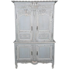 French Louis XV Style Painted Marriage Buffet Deux Corps from Normandy