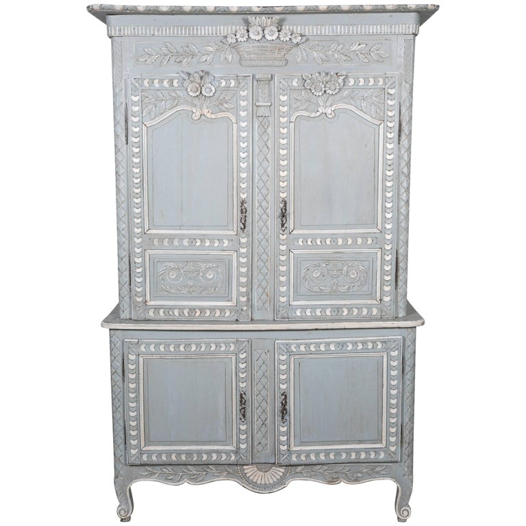 French Louis XV Style Painted Marriage Buffet Deux Corps from Normandy For Sale