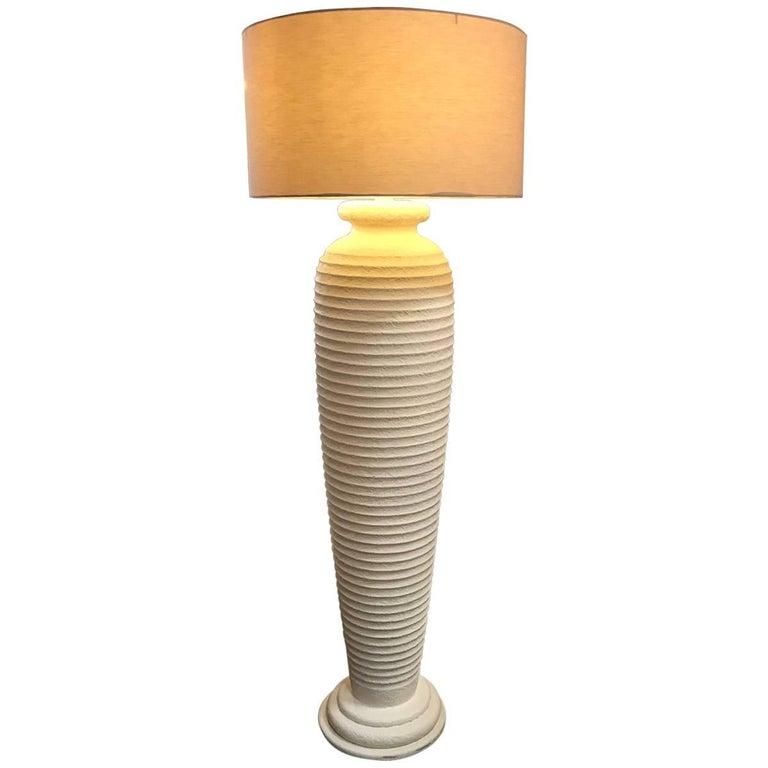 Cream Textured Plaster, 1980s Floor Lamp