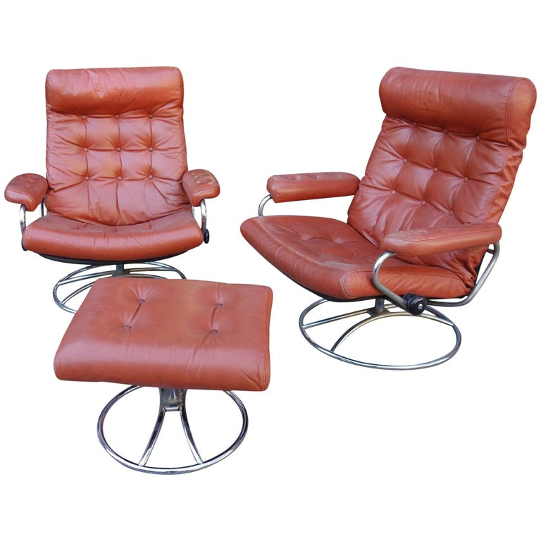 Midcentury Reclining Stress Less Lounge Chairs and Ottoman by Ekornes