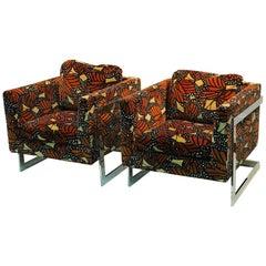 Milo Baughman Club Chairs with Chrome Frame and Original Larson Fabric