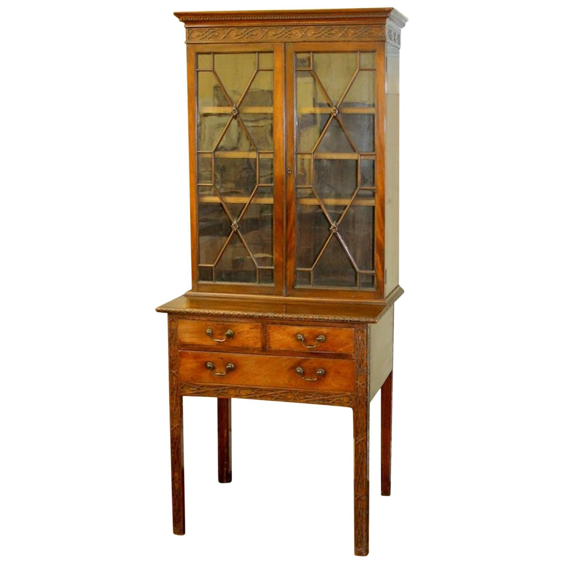 "Antique English George III ""Chinese Chippendale"" Bookcase or Display Cabinet"