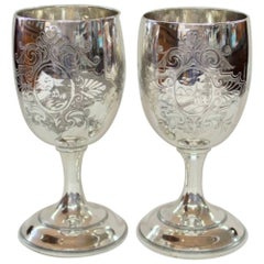 Pair of Antique American Silver Plate Goblets, Simpson, Hall and Miller, CT