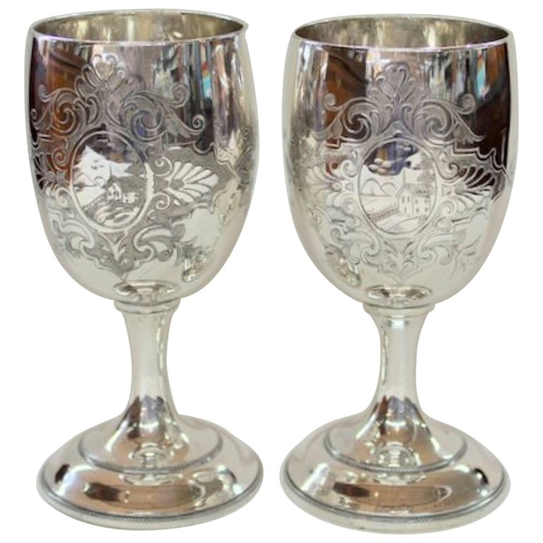 Pair of Antique American Silver Plate Goblets, Simpson, Hall and Miller, CT For Sale