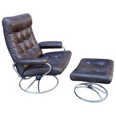 Midcentury Reclining Stressless Lounge Chair and Ottoman by Ekornes