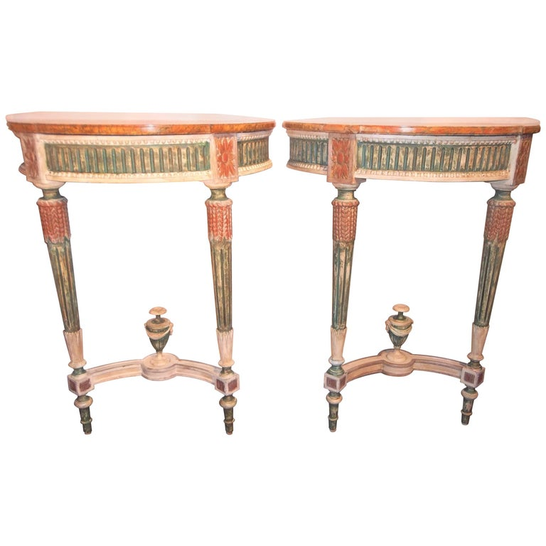 Pair of Distressed Paint Louis XVI Neoclassical Style Console Tables