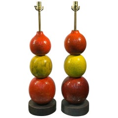 Italian Ceramic Ball Lamps by  Bitossi Modern