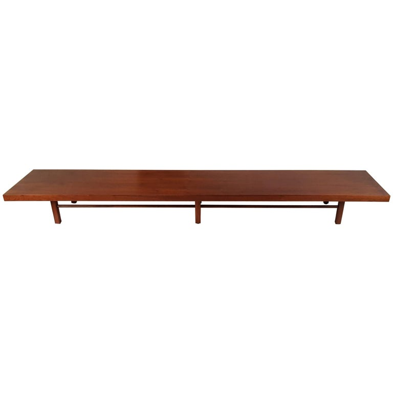 Milo Baughman for Thayer Coggin Walnut Bench or Coffee Table For Sale