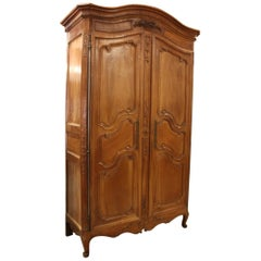 19th Century French Louis XV Carved Cherry Armoire