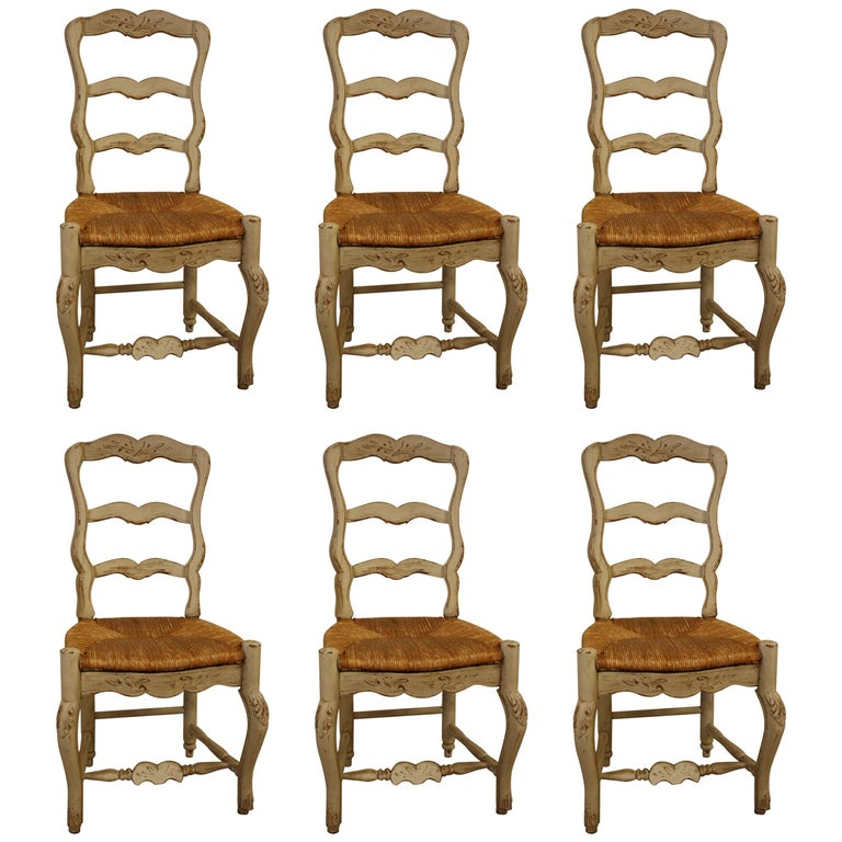 Set of Six French Painted Kitchen Dining Chairs with Rush Seats 1