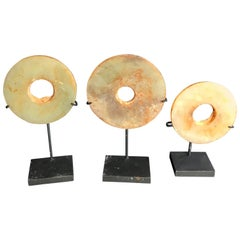 Ancient Chinese Superb Handmade Jade Bi Group Genuine Artifacts from 2000 BC