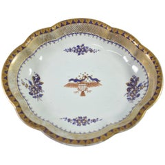 Lowestoft Reproduction Created by Mottahedeh Scalloped Federal Eagle Dish Tray